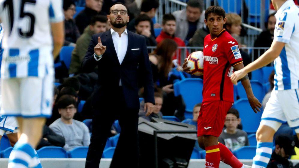 Foto: El entrenador del Getafe, Bordalás, en Anoeta acabó expulsado en el partido contra la Real Sociedad. (Efe)