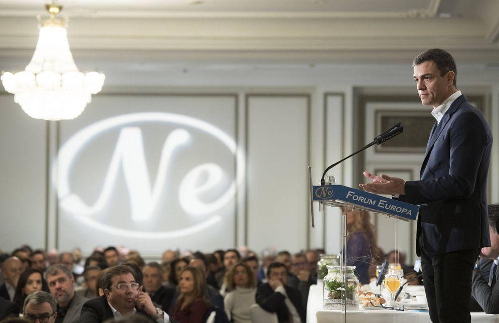 Foto: Pedro Sánchez, durante su intervención en el desayuno informativo organizado por Nueva Economía Fórum, este 9 de enero en el hotel Palace de Madrid. (Borja Puig | PSOE)
