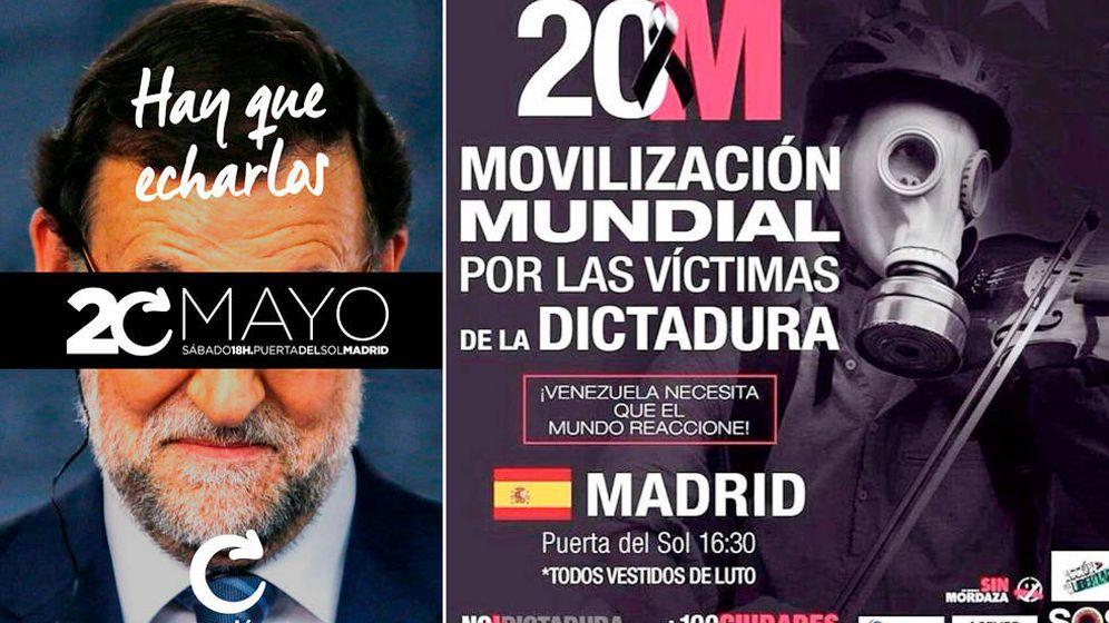 Foto: Carteles de las manifestaciones, ambas convocando en la Puerta del Sol.