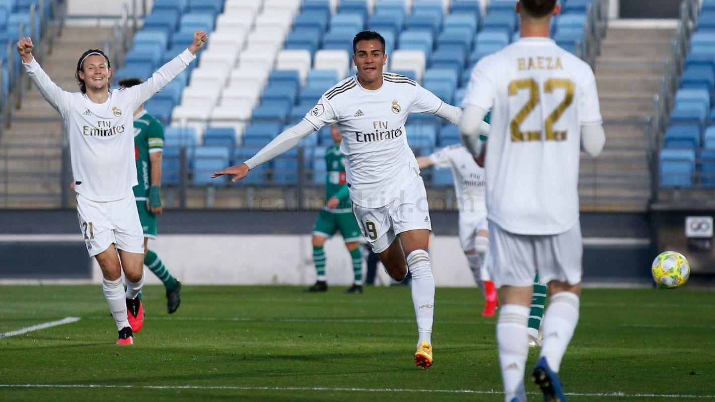 Reinier celebra su primer gol con el Castilla. (Europa Press)