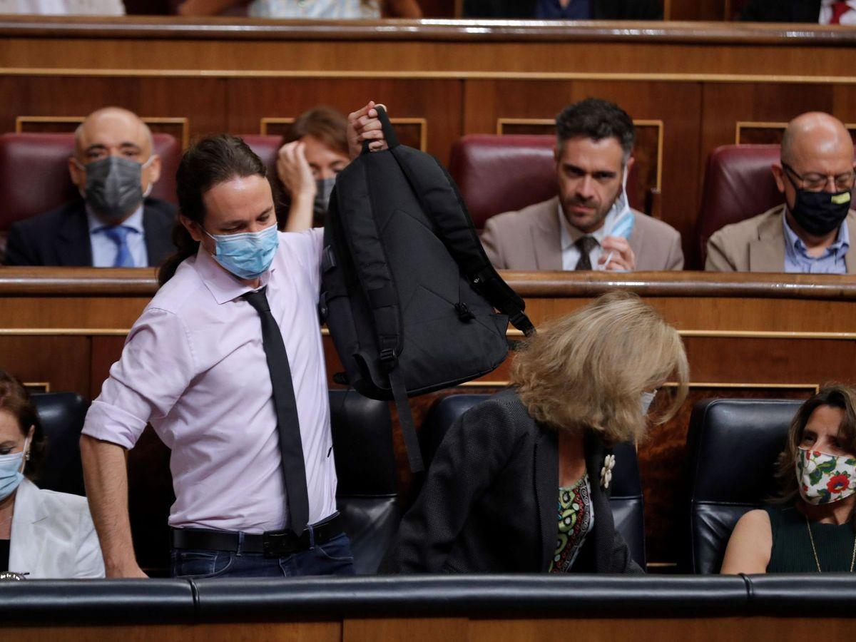 Foto: Pablo Iglesias hoy en el Congreso de los Diputados. (EFE)