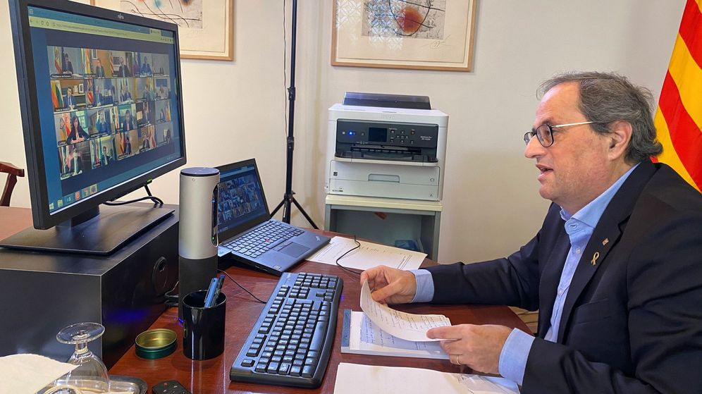 Foto: Quim Torra, durante la reunión que el presidente del Gobierno, Pedro Sánchez, ha mantenido con el resto de presidentes autonómicos, el pasado 5 de abril. (EFE)
