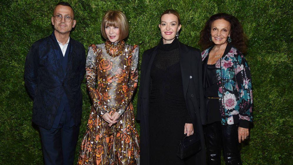 Foto: Steven Kolb, Anna Wintour, Marta Ortega y Diane von Fürstenberg. (Getty)