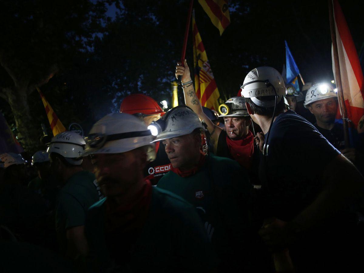 Foto: Mineros durante la Marcha Negra a Madrid en julio de 2012. (Reuters)