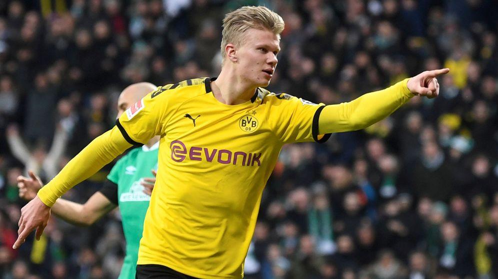Foto: Haaland celebra un gol con el Borussia Dortmund en un partido de la Bundesliga. (REUTERS)