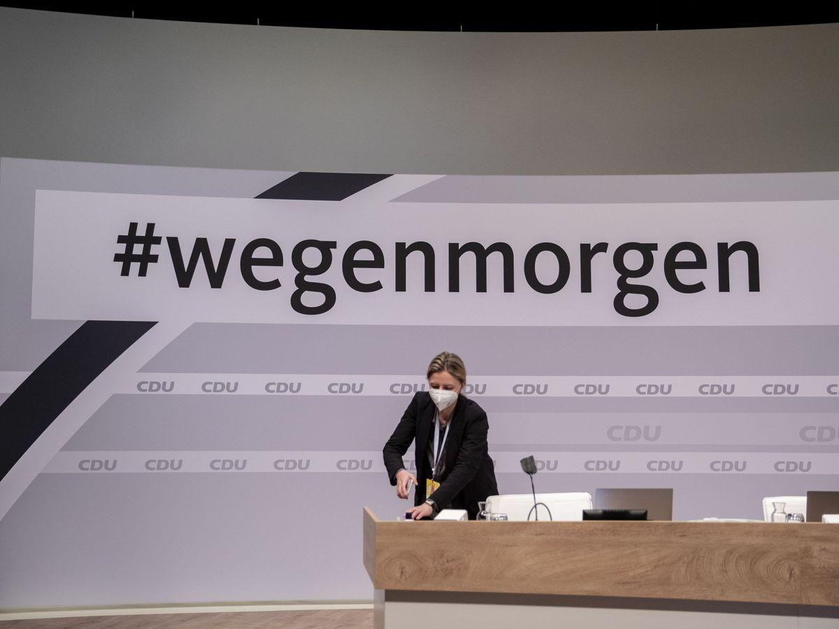 Foto: Imagen del congreso virtual de la CDU. (EFE)