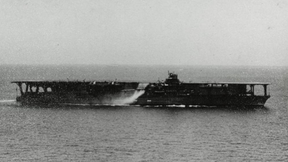 Foto: El portaviones Kaga, durante la II Guerra Mundial.