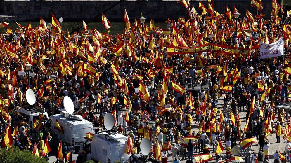 Foto: Manifestación en Colón en defensa d ela Nación Española en 2017. (Efe)