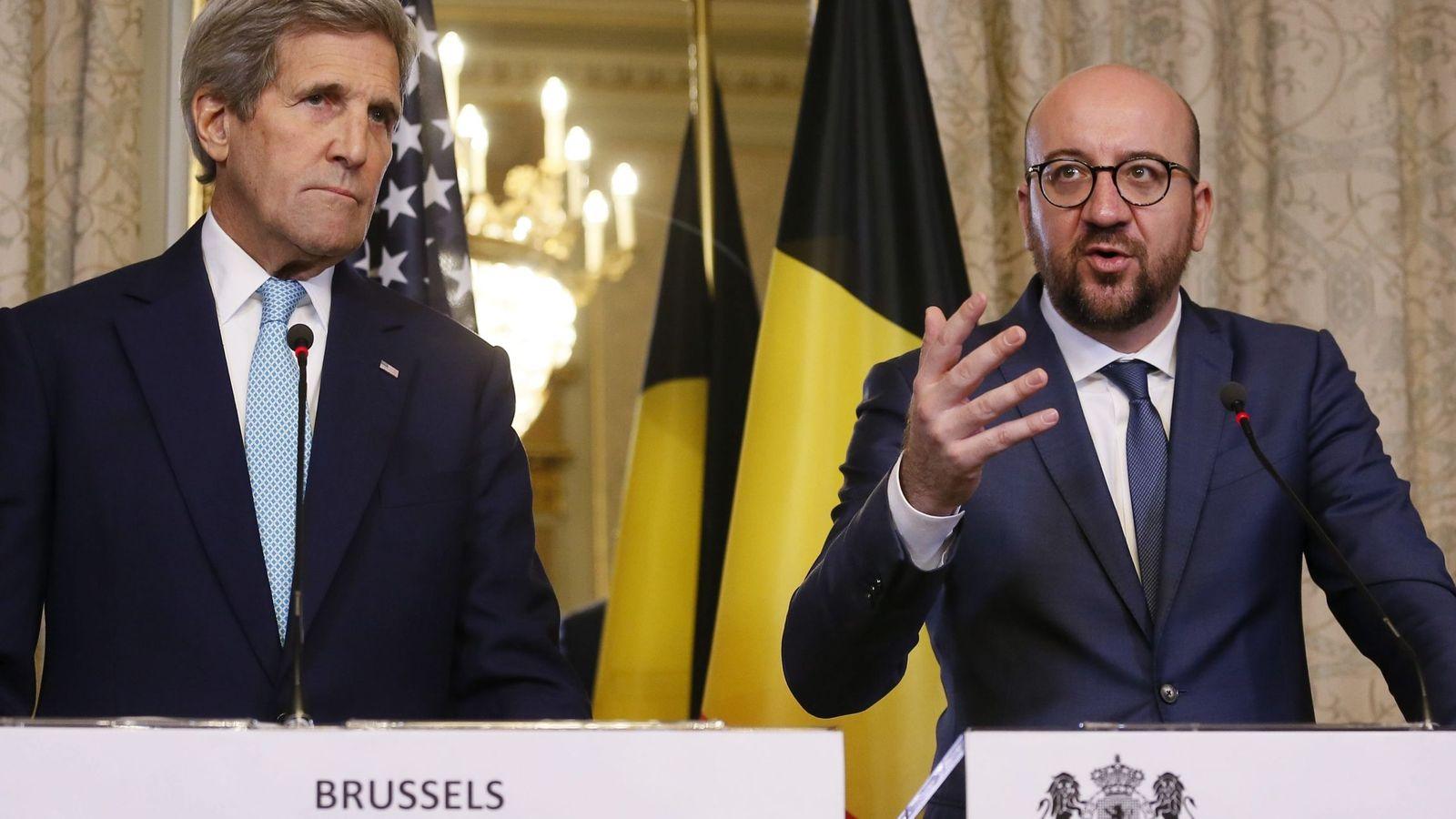 Foto: El secretario de estado estadounidense, John Kerry, y el primer ministro belga, Charles Michel, este viernes. (Efe)
