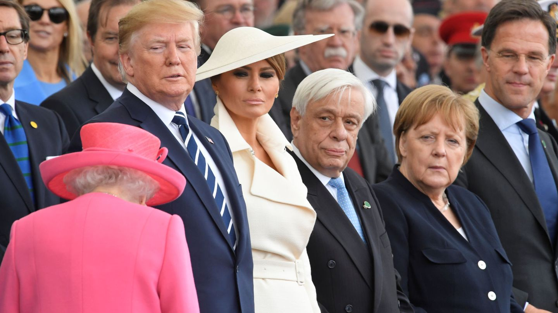Meghan y Donald, junto a Angela Merkle. (Reuters)