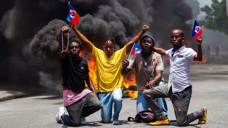 Manifestantes antigubernamentales en Haití. (EFE)