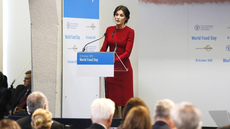 La reina Letizia en un acto de la FAO. (Getty)