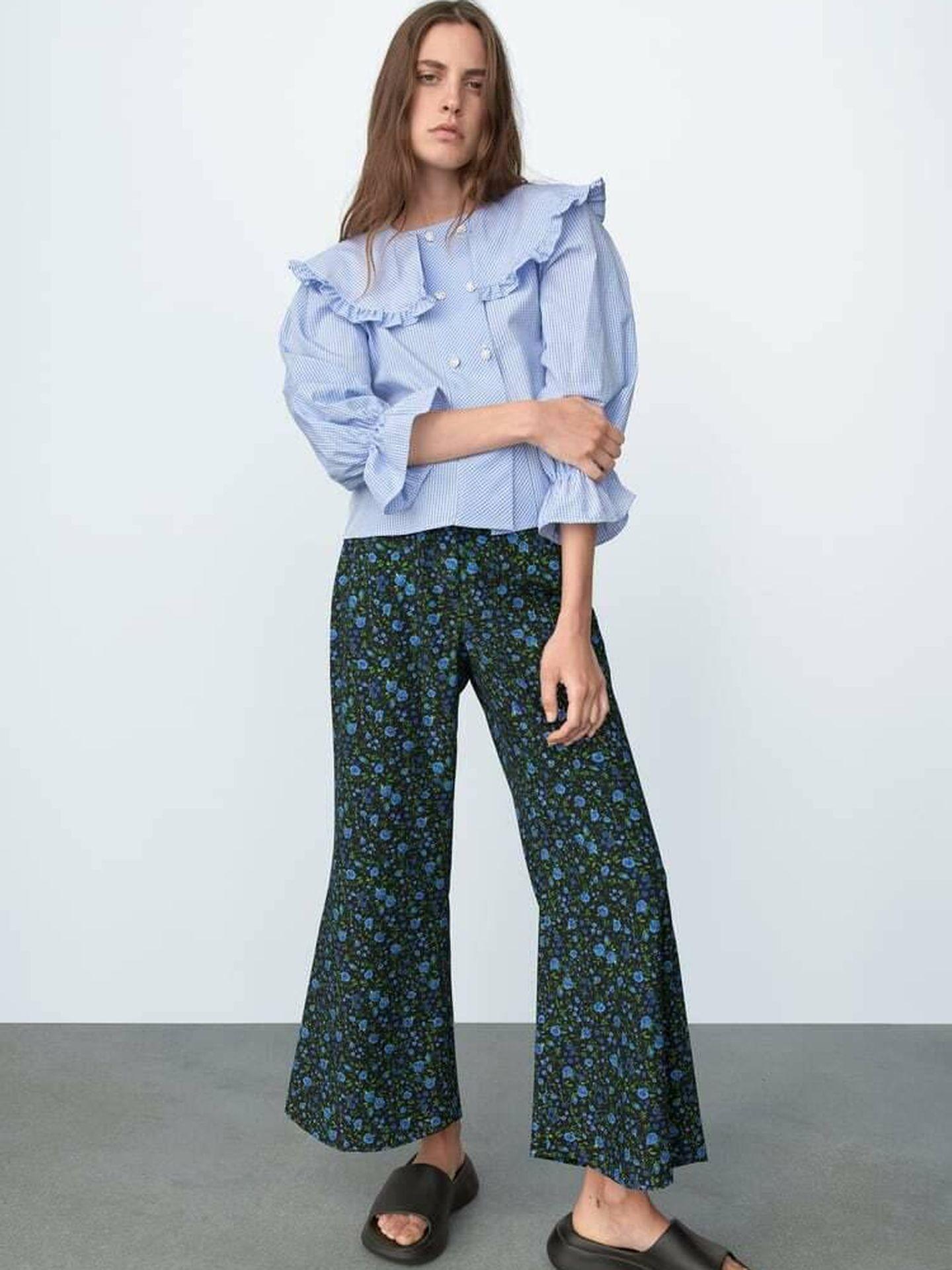 El pantalón de flores de Zara. (Cortesía)