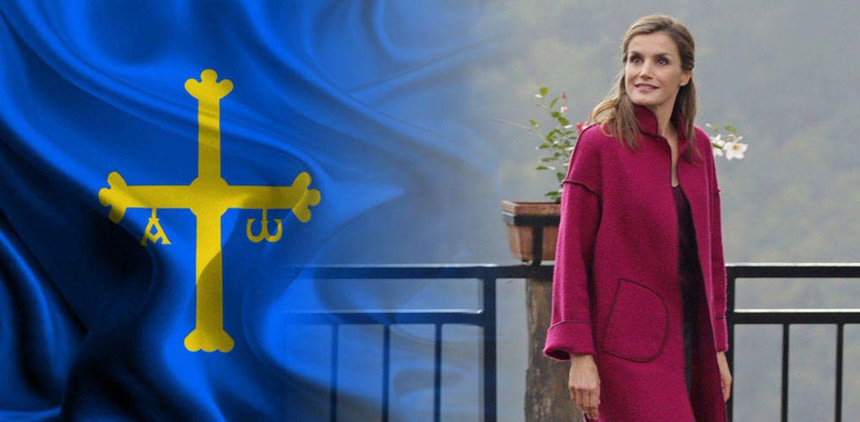 Foto: La Reina de España junto a la bandera de Asturias
