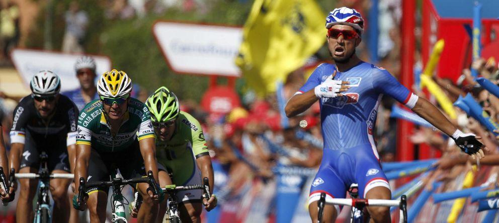 Foto: Bouhanni celebra su segunda etapa en la Vuelta (EFE).