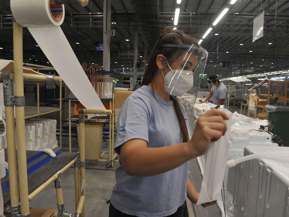 Foto: Una empleada desempeña su labor en una fábrica. (EFE)