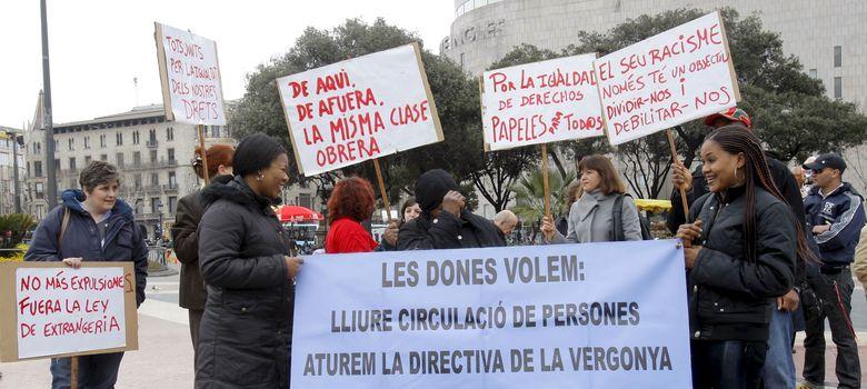 Foto: Protesta por los derechos de los inmigrantes en Cataluña. (Efe)