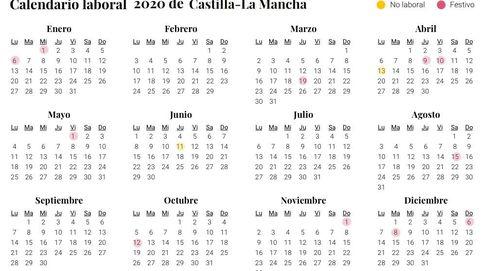 Calendario laboral 2020 de Castilla-La Mancha: