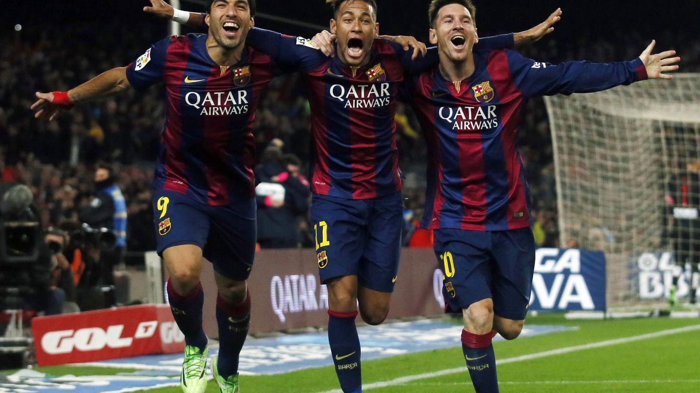 Foto: Luis Suárez, Neymar y Messi celebran un gol del Barcelona. (Reuters)