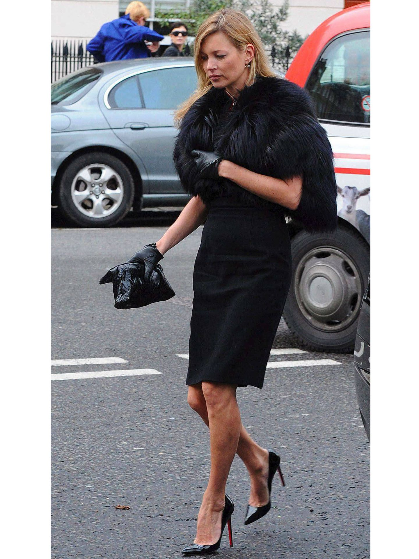 Kate Moss, en el funeral de Alexander McQueen. (EFE)