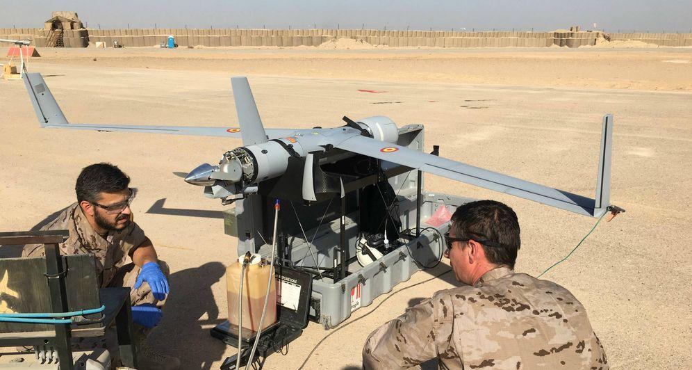 Foto: El dron Scan Eagle usado por la Armada española en Irak. (Foto EMAD-Undécima Escuadrilla)