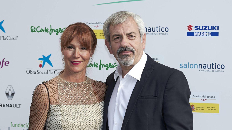 Patricia Santamarina y Carlos Sobera, en una fiesta en la embajada francesa. (Getty)