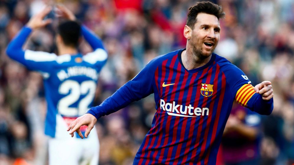 Foto: Messi celebra un gol contra el Espanyol. (Efe)