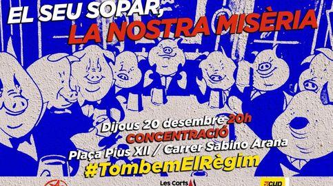 Una cena de cerdos: así caricaturizan los CDR a Sánchez y dos de sus ministras