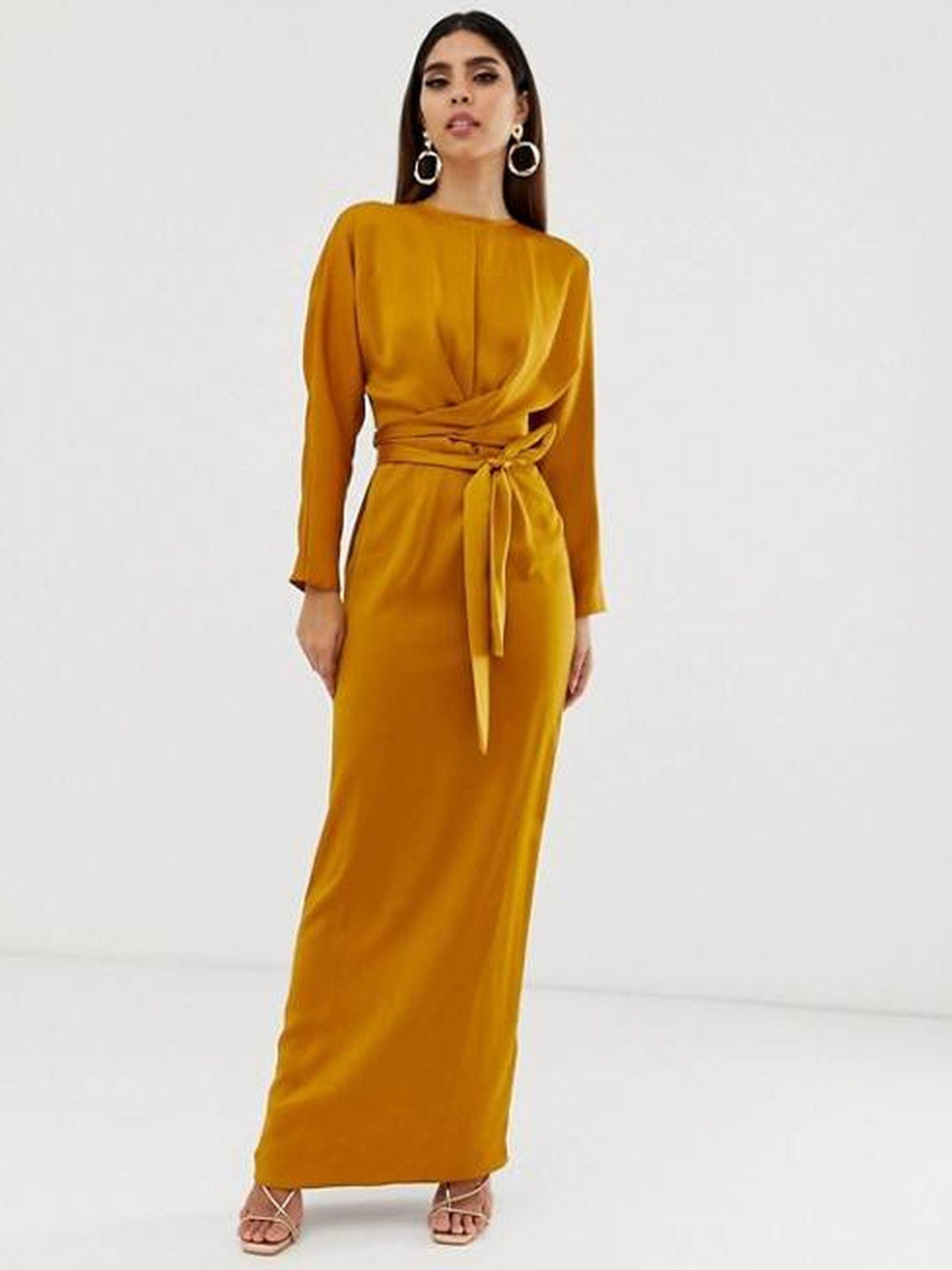 El vestido monocolor de Asos Design. (Cortesía)