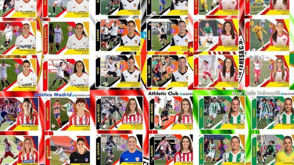 Foto: Cromos hechos por María Vázquez para que el fútbol femenino también tenga su propia colección