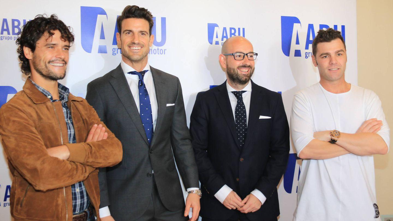 Aitor Ocio, Miguel Abellán y Fonsi Nieto en un acto de la firma Abu en 2016. (Gtres)