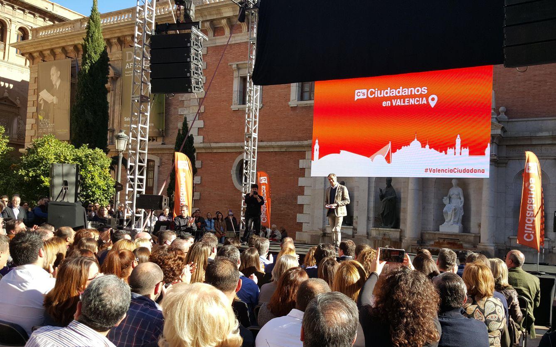Toni Cantó durante su intervención en el acto de Valencia. (Ciudadanos)