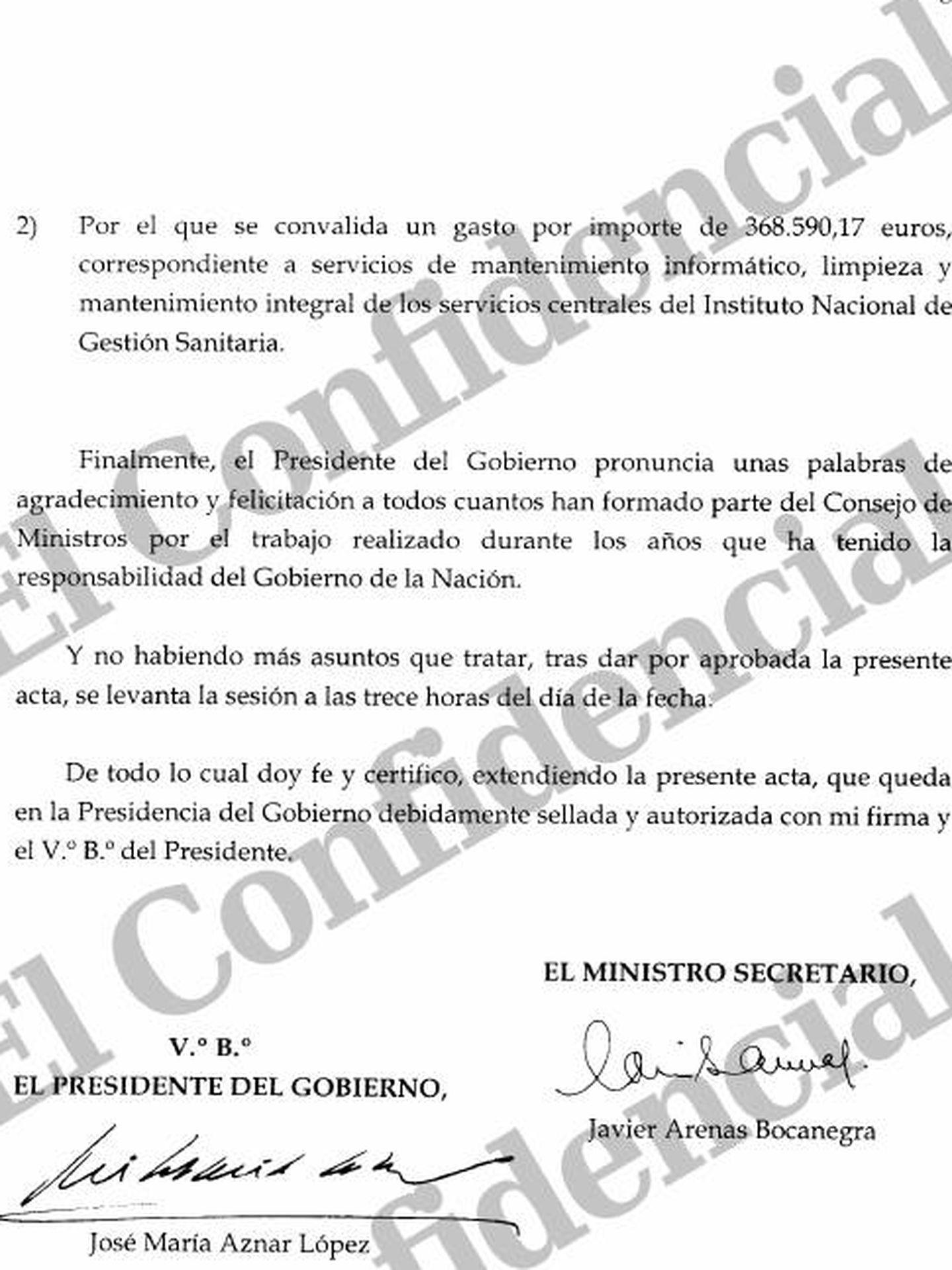 Pinche en la imagen para leer el acta completa del último Consejo de Ministros presidido por Aznar.