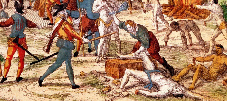 Foto: El conquistador Hernando de Soto torturando a los jefes nativos de Florida
