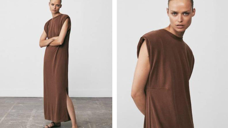 Vestido con hombreras de Massimo Dutti. (Cortesía)