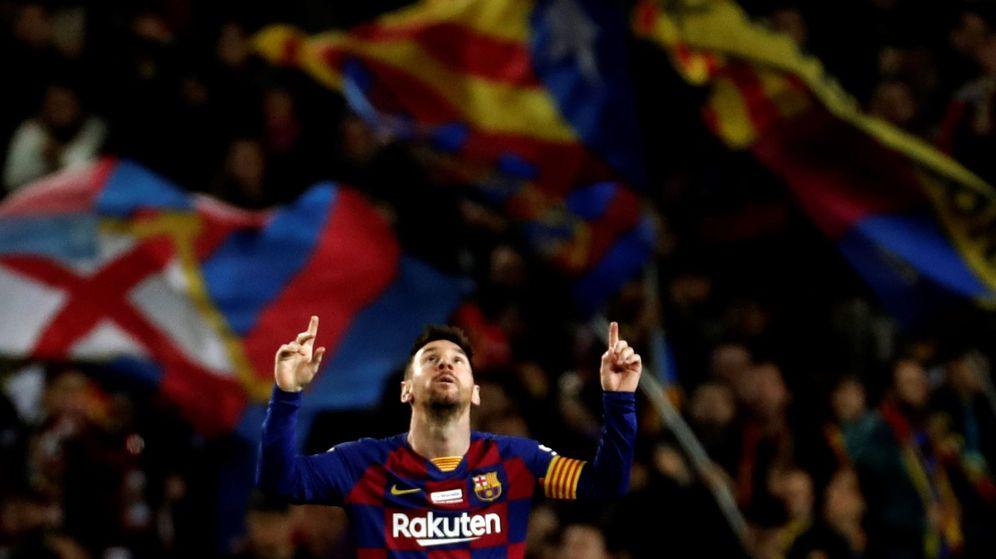 Foto: Leo Messi celebra su tercer gol, el quinto del Barça, ante el Mallorca. (EFE)