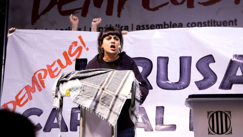 Anna Gabriel durante el acto central de la campaña electoral de la CUP. (EFE)