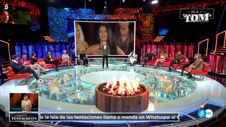 Fani, Gonzalo y Christofer, en 'El debate de las tentaciones'. (Mediaset España)