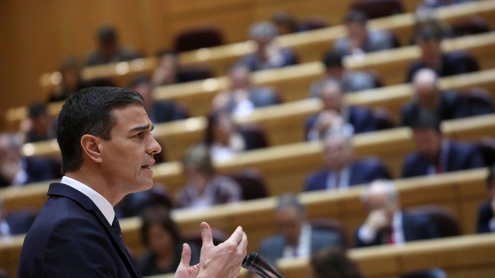 Foto: El presidente del Gobierno, Pedro Sánchez, durante su comparecencia en el Senado. (Reuters)