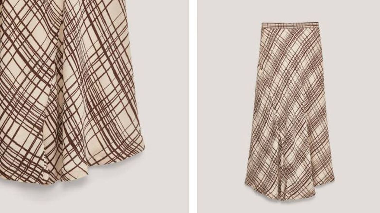 Falda de cuadros de Massimo Dutti. (Cortesía)