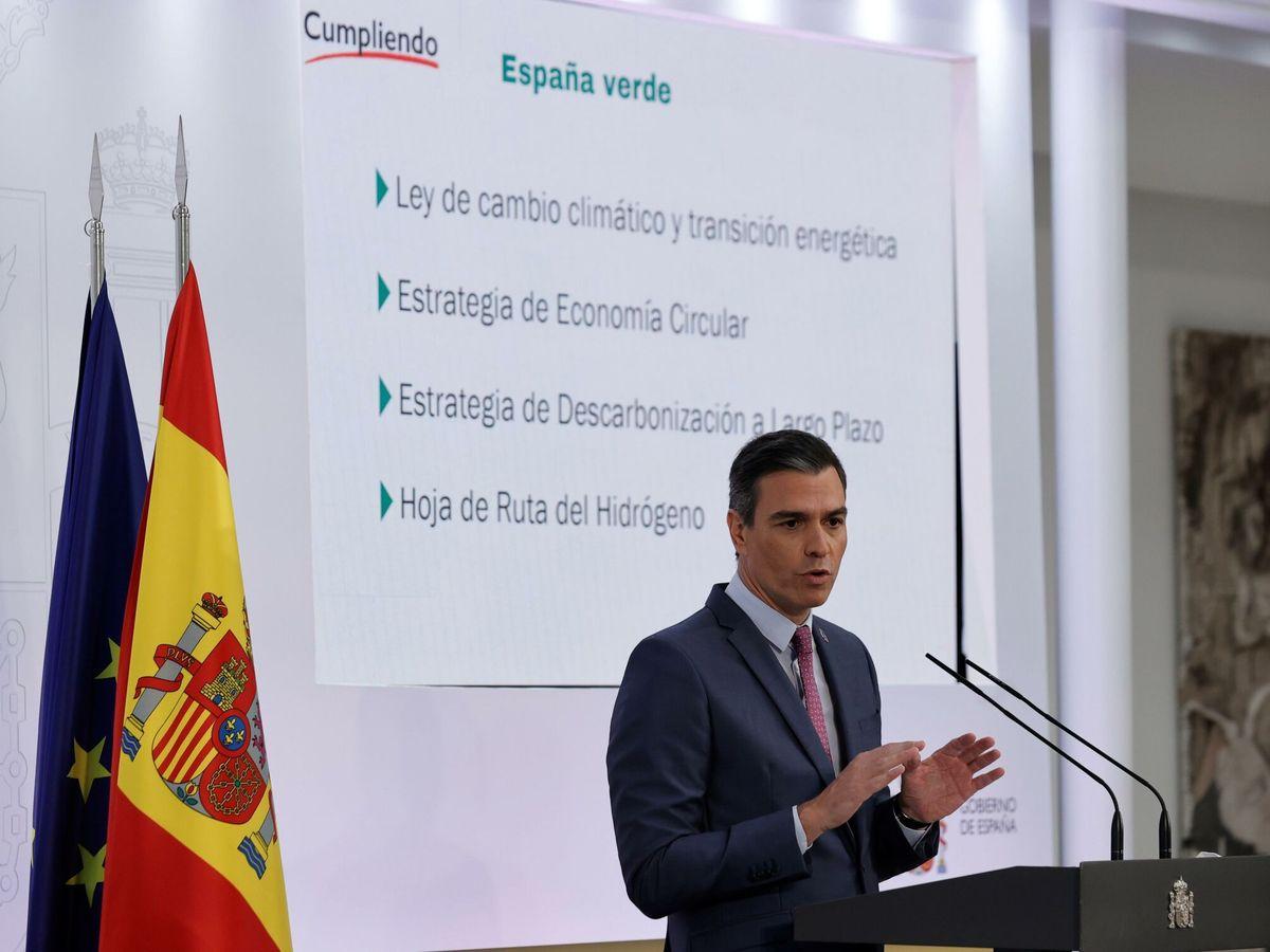 Foto: El presidente del Gobierno, Pedro Sánchez, durante su intervención para hacer balance del curso político. (EFE)