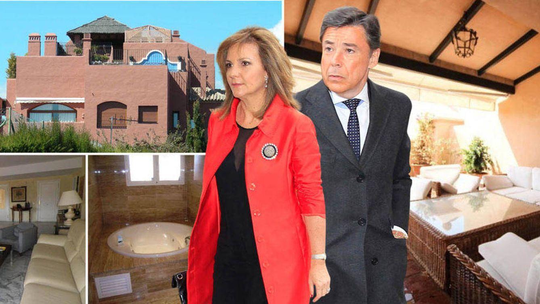 Foto: Ignacio González y Lourdes Cavero en su ático de Estepona. (Fotomontaje realizado por Vanitatis)