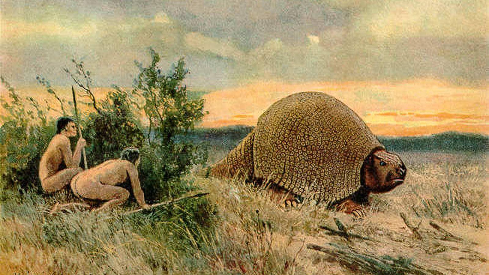Foto: Paleoindios de América con un glyptodon. (Wikipedia)
