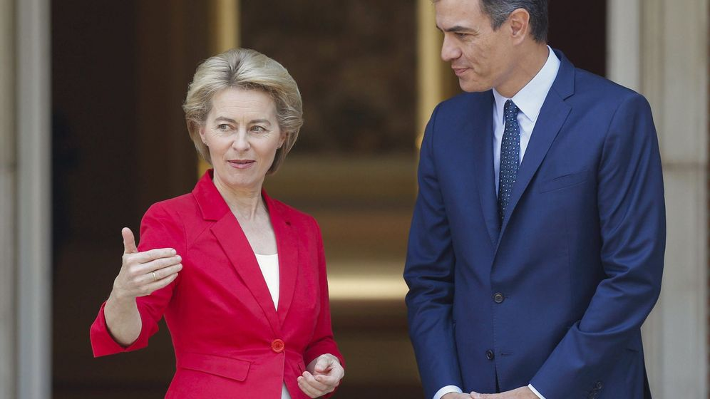 Foto: Sánchez recibe a la presidenta electa de la Comisión Europea. (EFE)