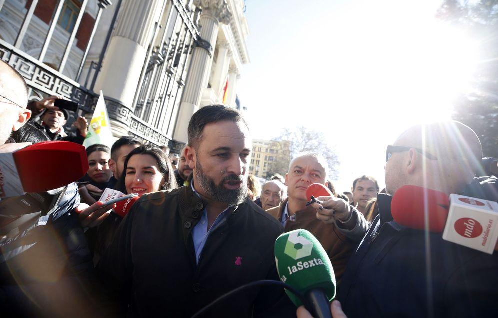 Foto: Santiago Abascal, en la concentración en Madrid de agricultores y ganaderos. (EFE)