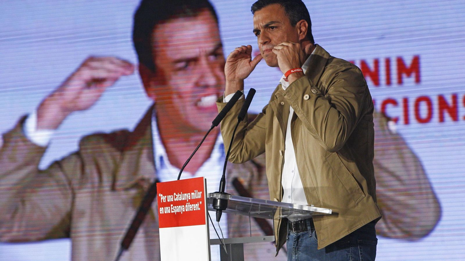 Foto: El secretario general del PSOE, Pedro Sánchez, durante el acto de inicio de campaña para las elecciones catalanas. (Efe)