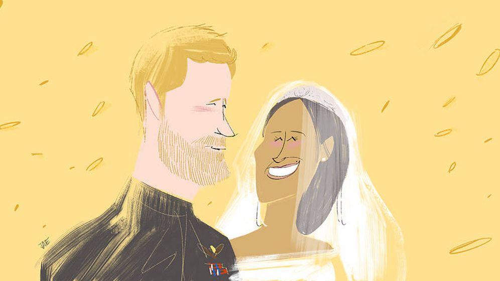 Foto:  El príncipe Harry y Meghan Markle. (Ilustración: Jate)
