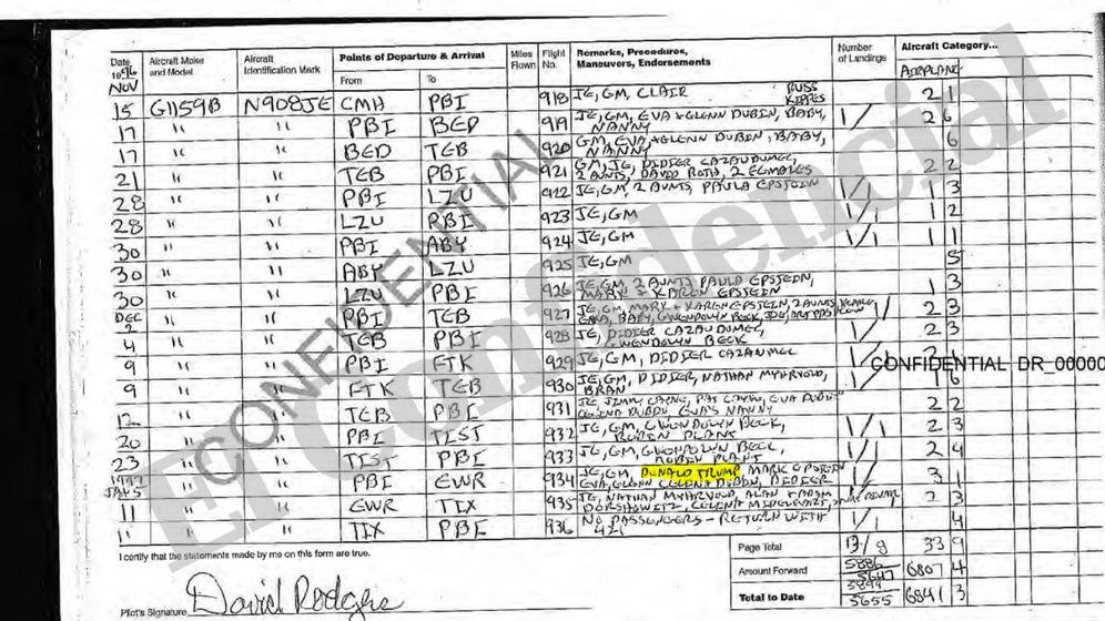 Foto: Registro de vuelo que revela que Donald Trump utilizó el avión de Epstein. (E.C)