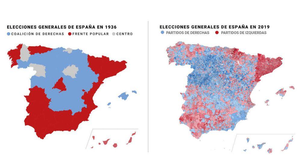 El eterno retorno: el chocante parecido entre los mapas electorales de 1936 y 2019