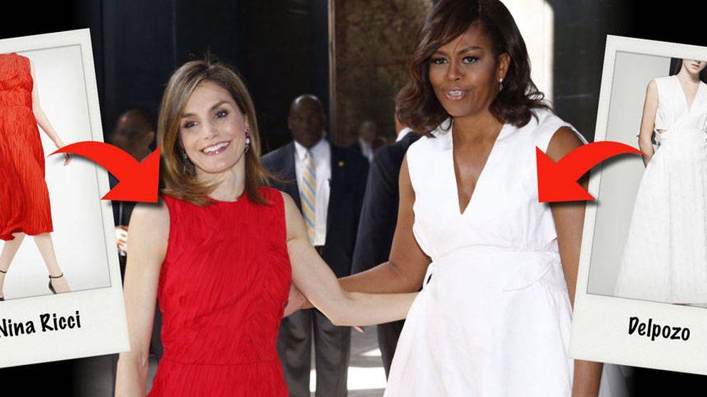 Michelle apoya al 'made in Spain' mientras Letizia se pasa a lo extranjero